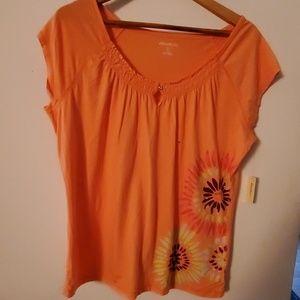 Eddie Bauer Orange Flower Print Blouse - XL